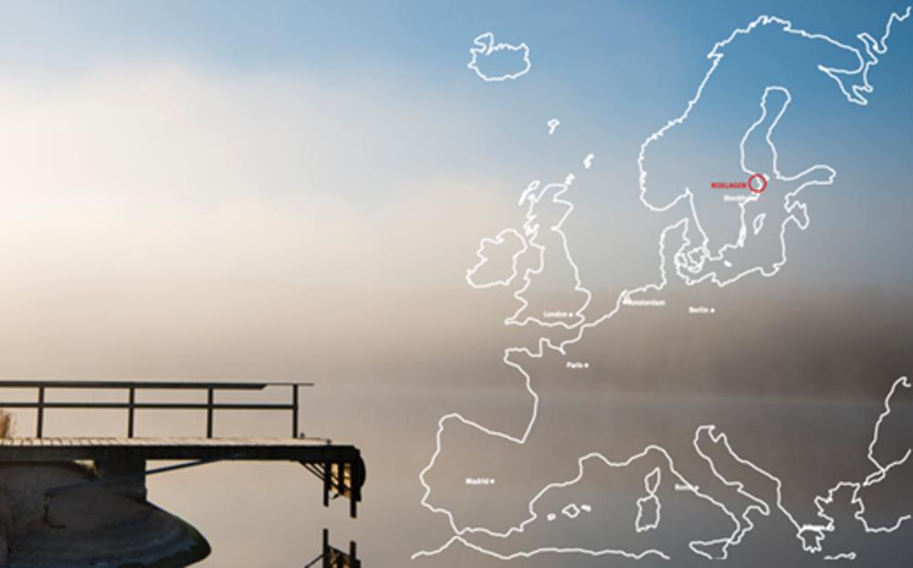 Kartbild över Europa och Roslagen