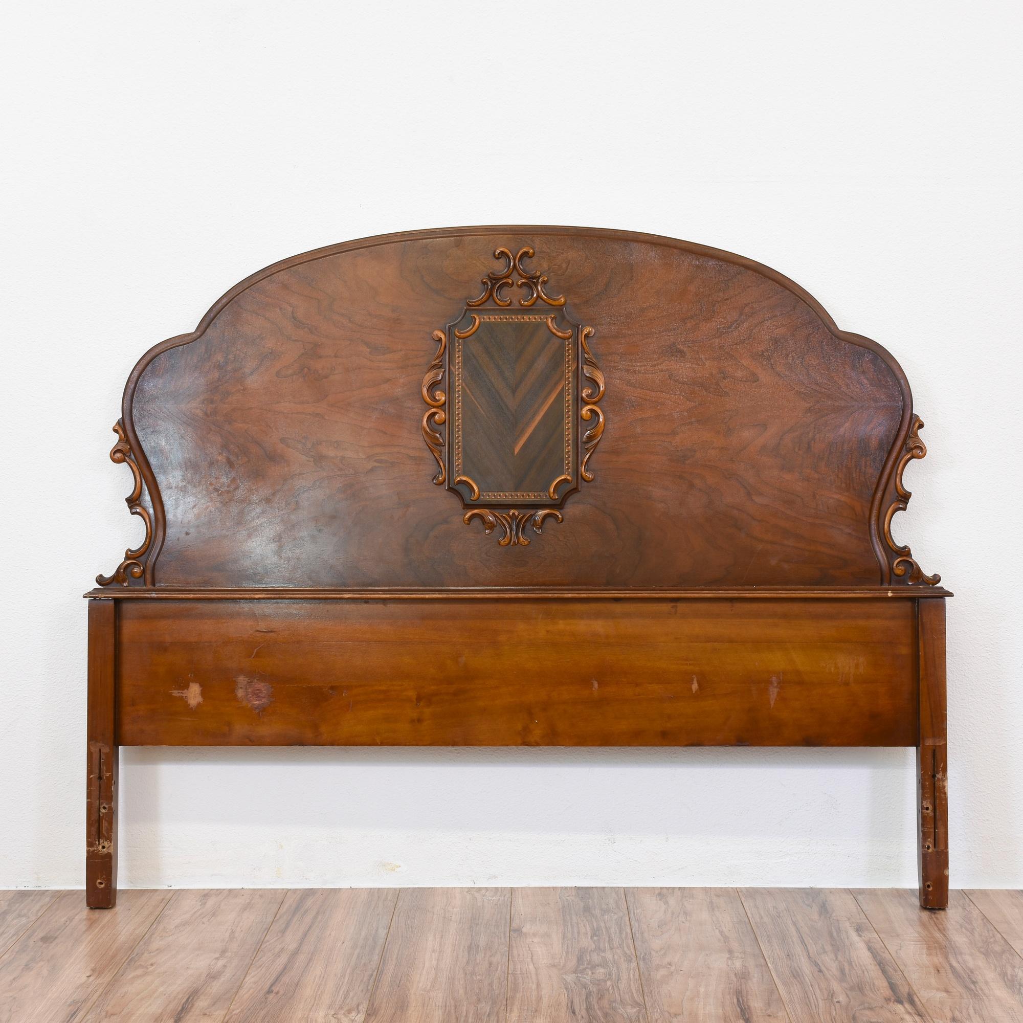 Antique Full Sized Burl Wood Headboard