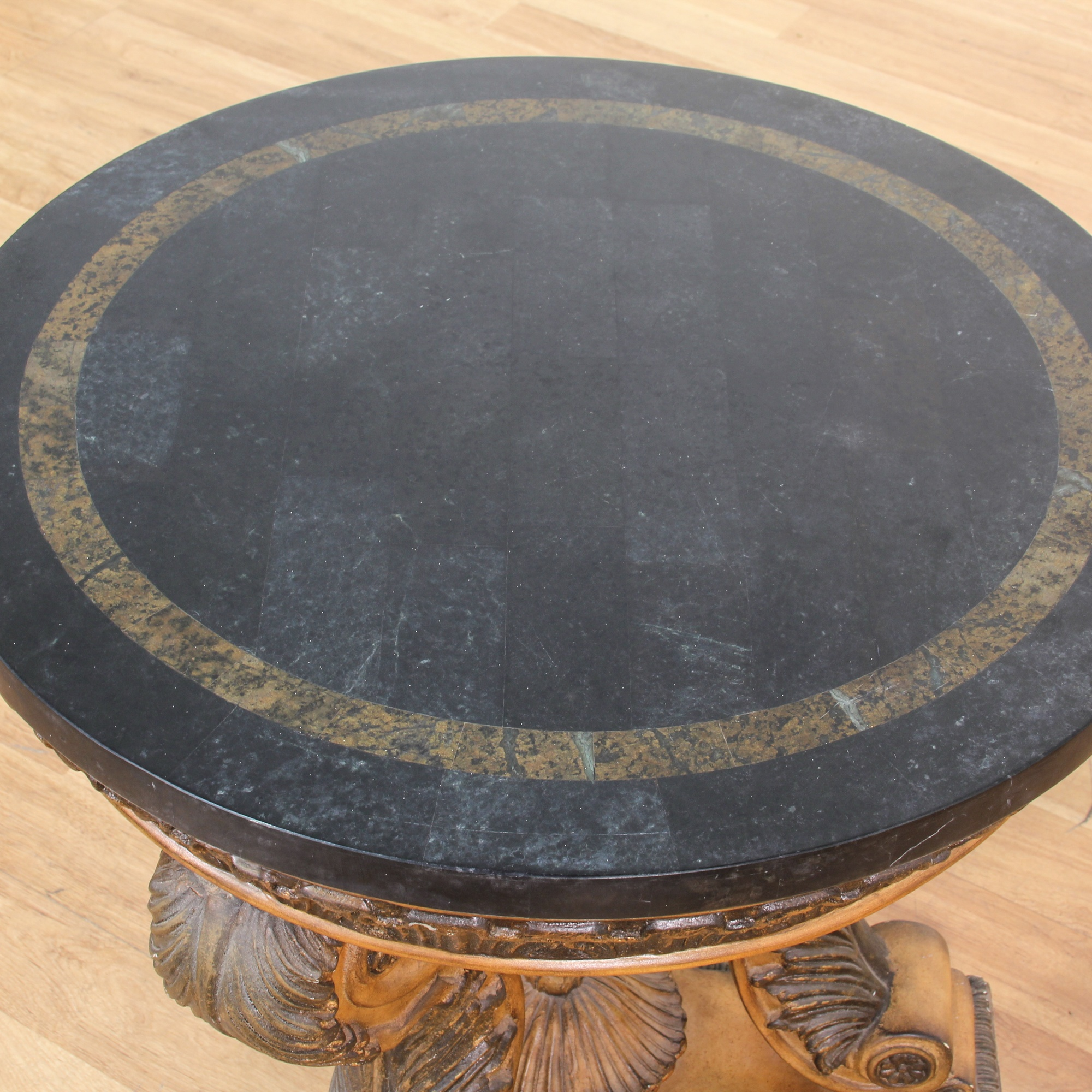 Engraved Limestone Inlay : Round marble top end table w carved wood loveseat