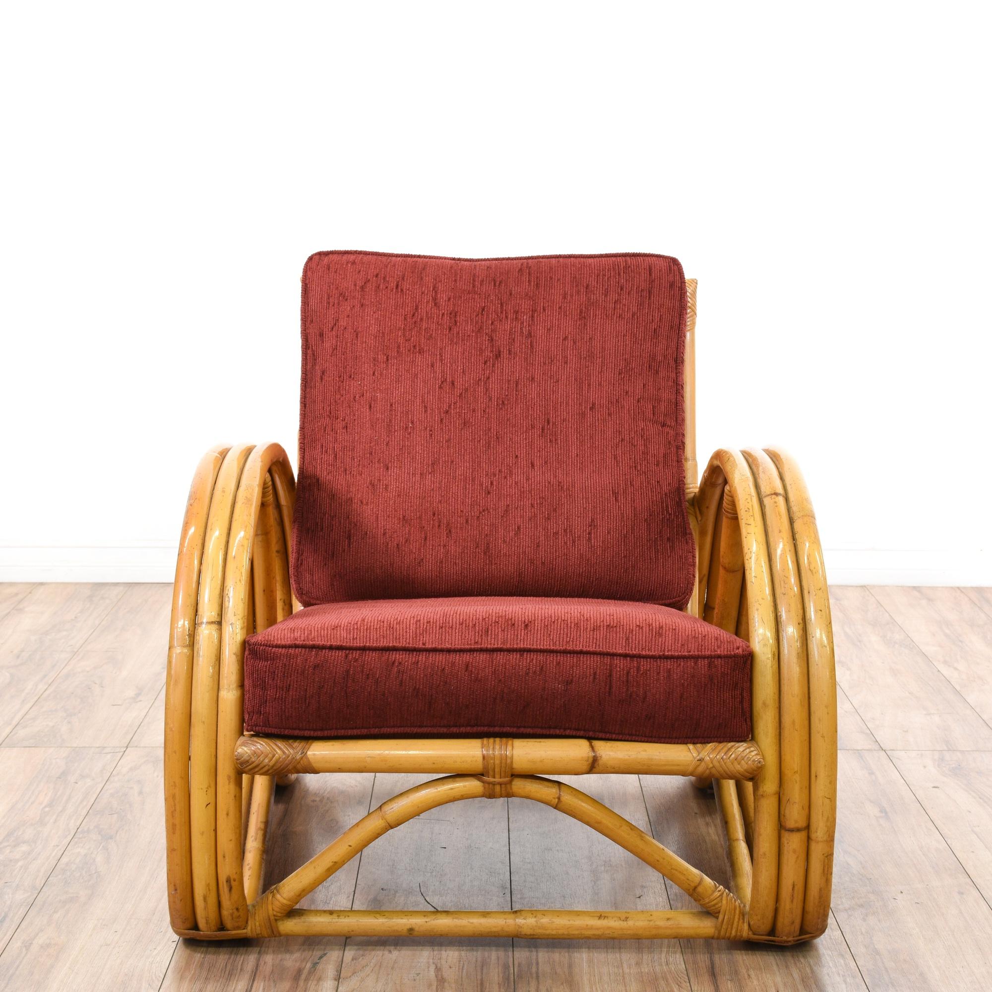 Paul Frankl Style Rattan Pretzel Lounge Armchair