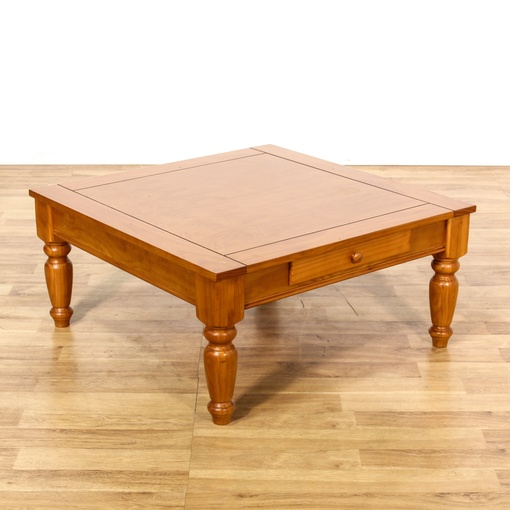 Rustic Pine Wood Coffee Table: Large Rustic Country Pine Stained Coffee Table