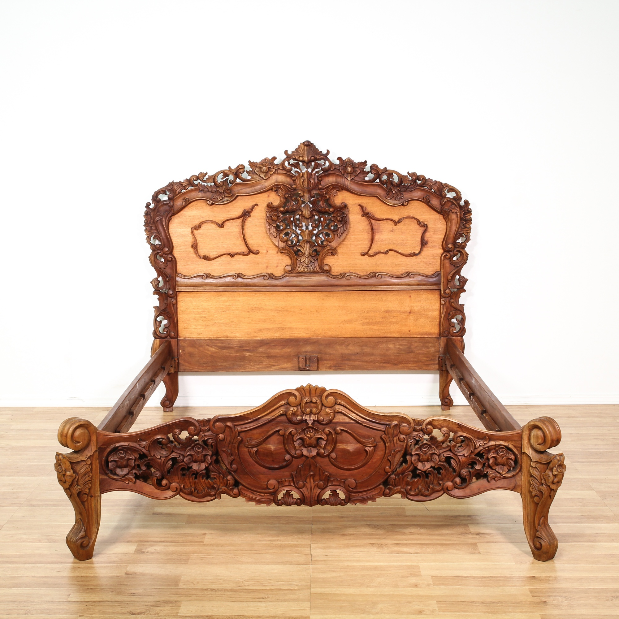 Rococo baroque carved mahogany bed frame loveseat