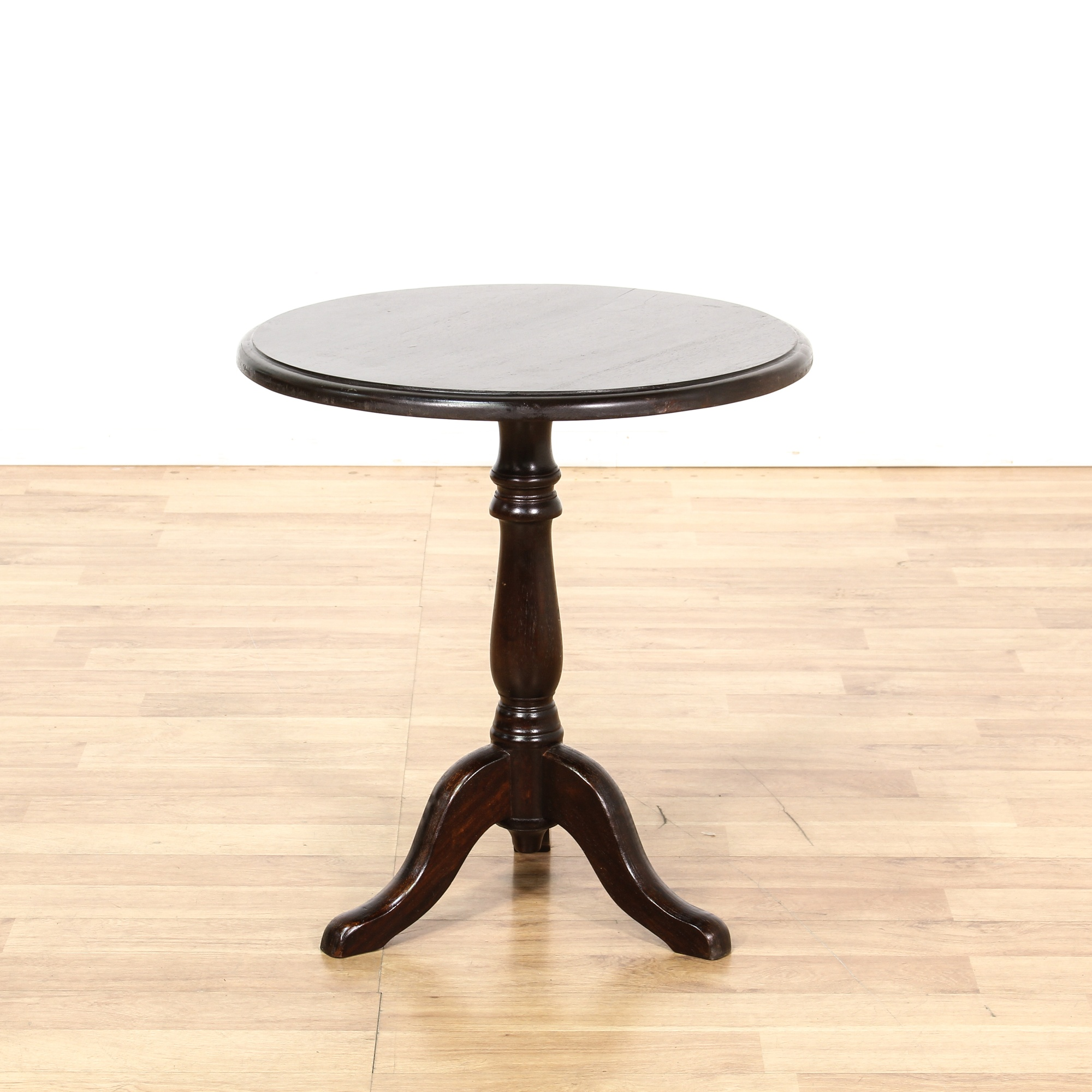 Small dark wood round pedestal end table loveseat for Small dark wood side table
