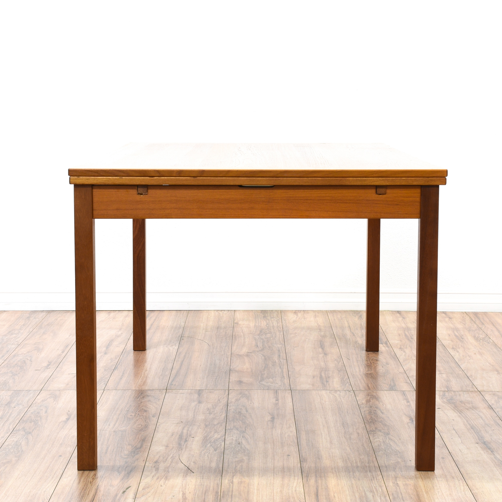 Danish modern teak draw leaf dining table loveseat for Danish modern la