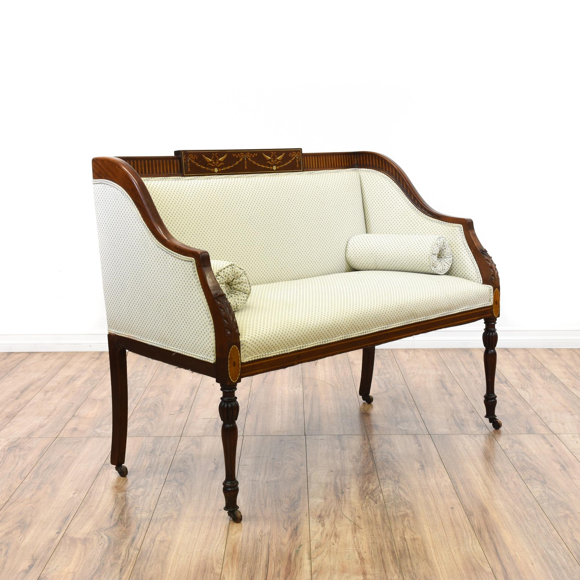 Carved Upholstered White Loveseat Settee Sofa
