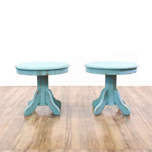 Pair of Blue Shabby Chic End Tables