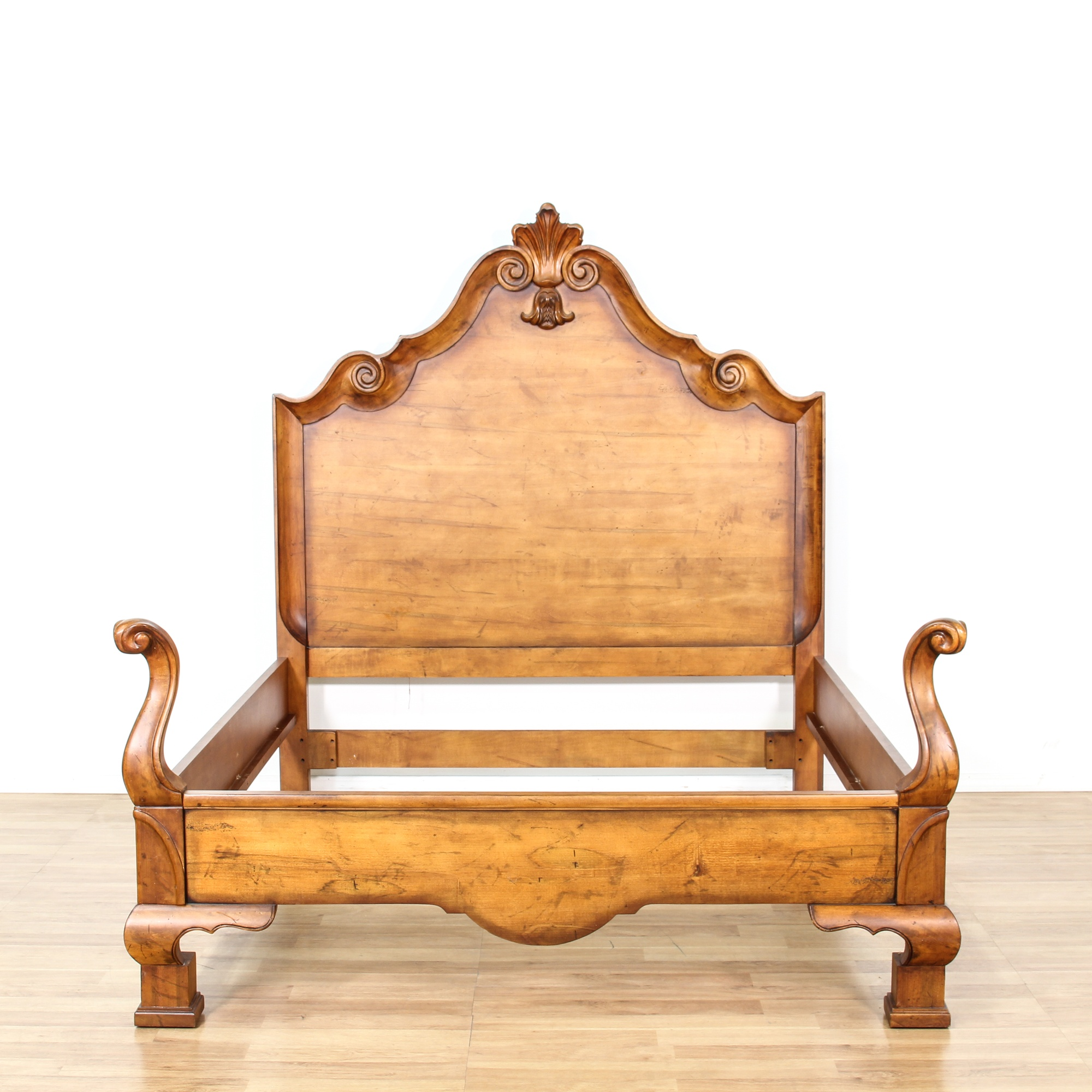 queen sized walnut stained bed frame loveseat vintage