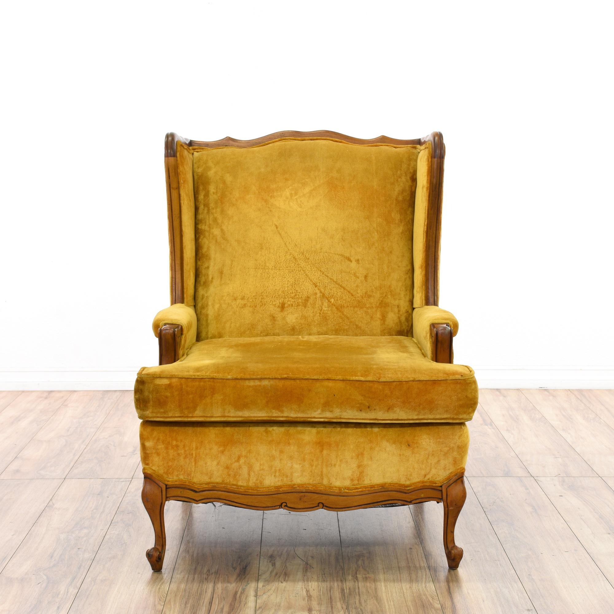 Mustard Yellow Velvet Wingback Chair Loveseat Vintage