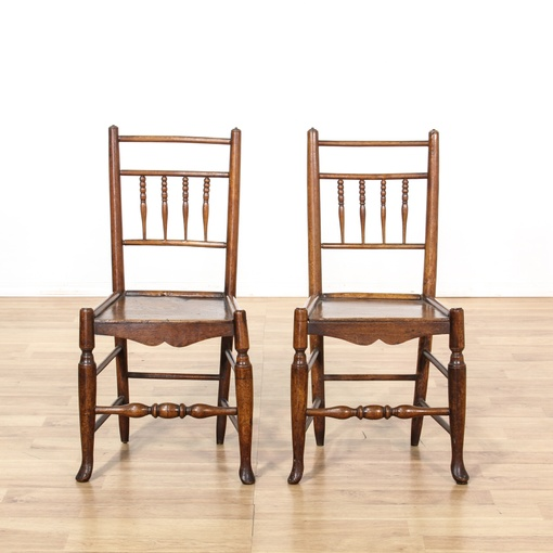 Pair of antique oak side chairs loveseat vintage for G furniture los angeles