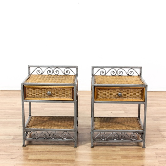 Pair of wicker nightstands w iron base loveseat vintage for G furniture los angeles