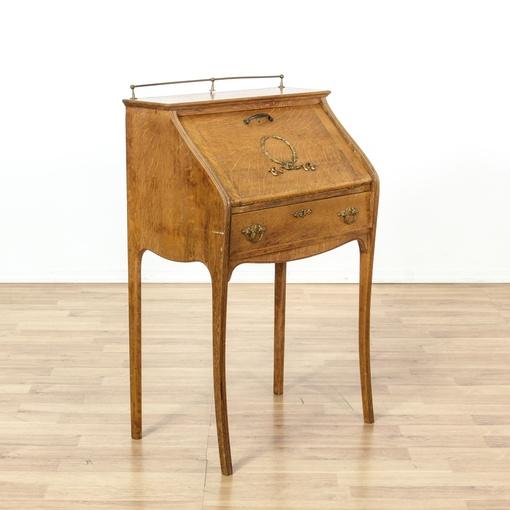 Antique Tiger Oak Slant Front Secretary Desk Loveseat