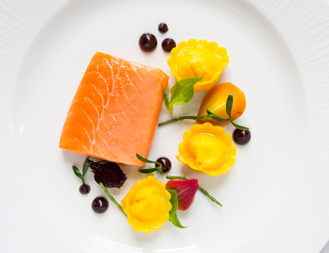Norwegian fjord trout, smoked eel and horseradish tortellini, roast beetroot, sea vegetables and orange dressing by Ruth Hansom