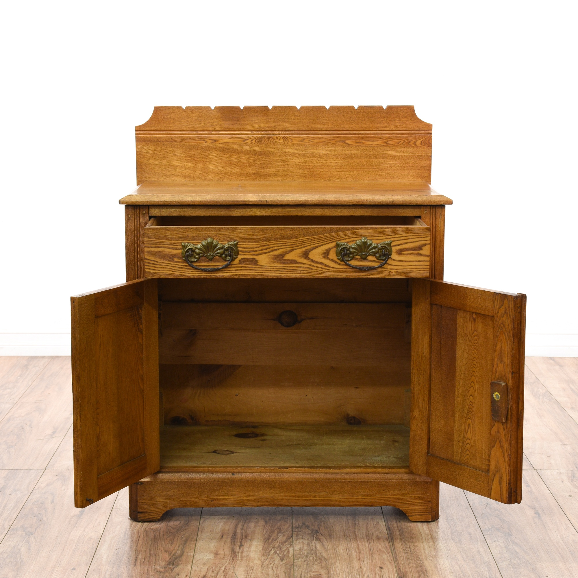Antique Oak Washstand Cabinet