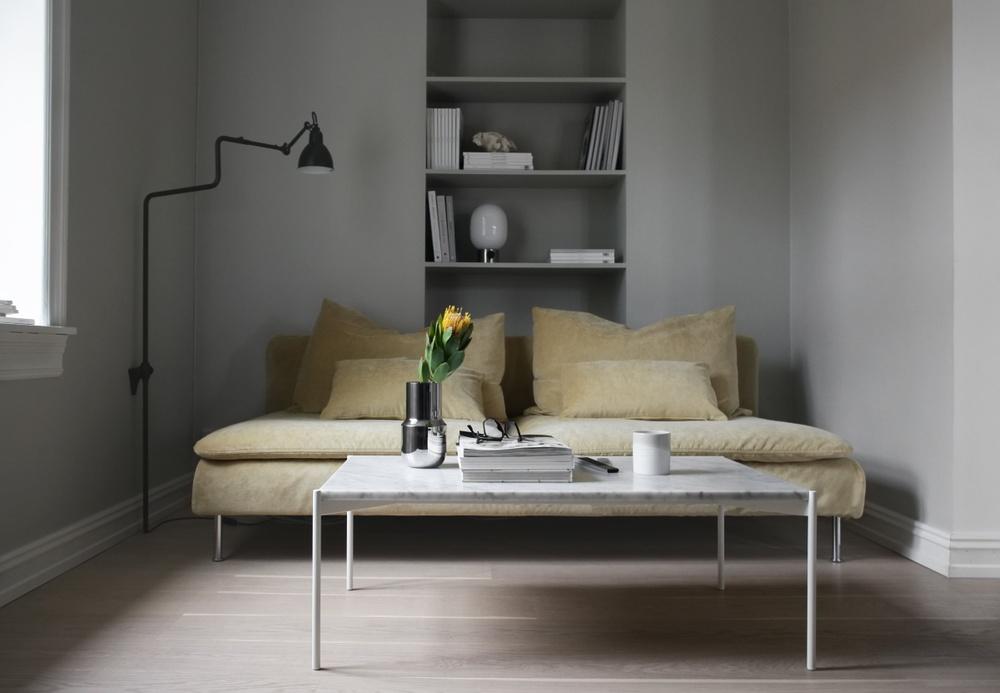 Bemz cover for Söderhamn 3 seat section sofa, fabric: Malmen Velvet Straw Yellow. Styling + photo: Elisabeth Heier.
