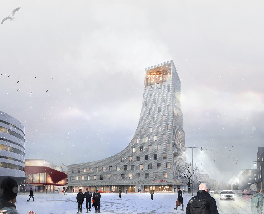 Det nya hotellet i Kiruna centrum, ritat av Sandellsandberg. Cred: Sandellsandberg.