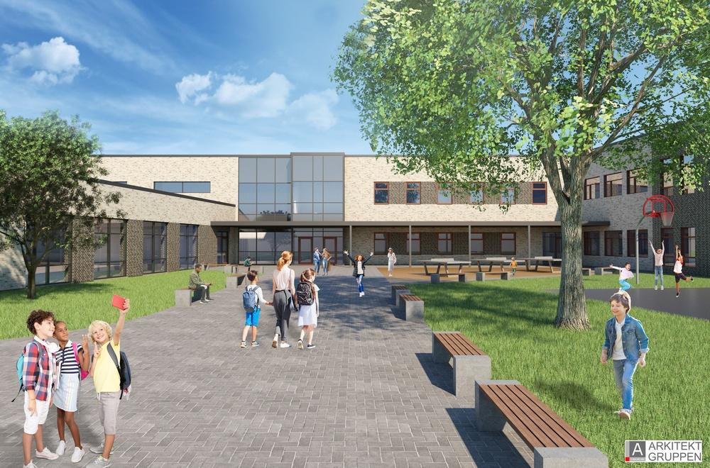 Illustrerad bild av hur Rydsgårds skola kommer att se ut. Tegelfasad och glasade ytor. Vida byggnader, två våningar. Skolgården är grön, med ett par bänkar.