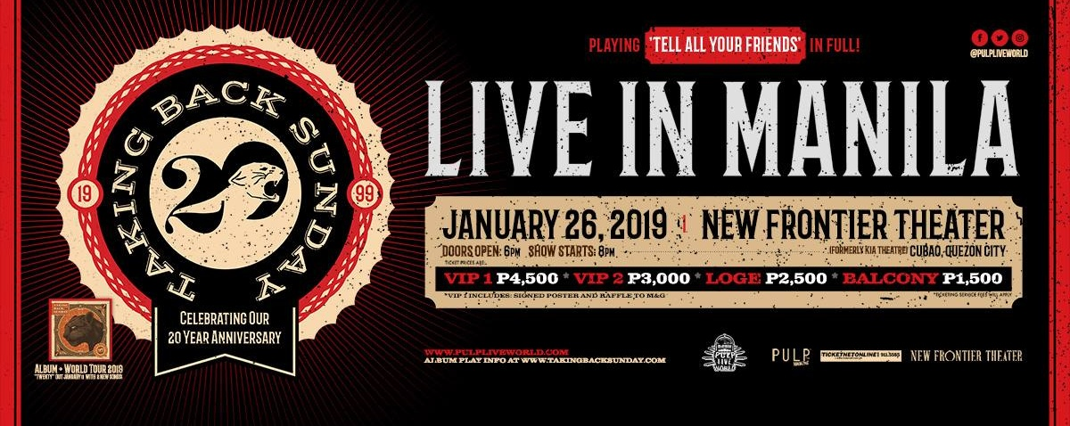 Taking Back Sunday Live In Manila: 20th Anniversary Tour