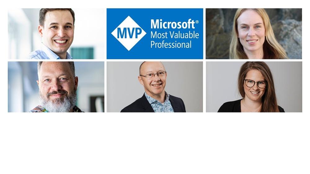 Benedikt Bergmann, Carina Claesson, Gustaf Westerlund, Jonas Rapp och Sara Lagerquist. Microsoft MVP 2021.