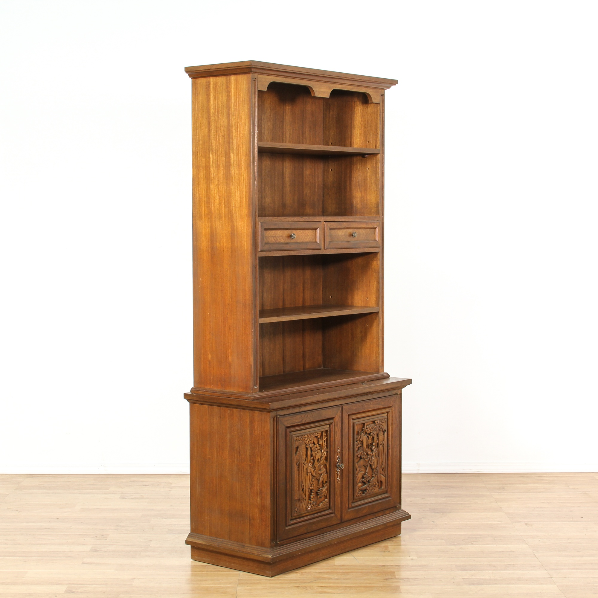Carved chinese style bookcase cabinet loveseat vintage for Oriental furniture los angeles