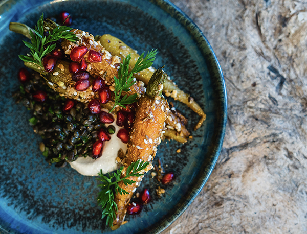 Roasted heritage carrots,</p><p>Puy lentils, Trenchmore</p><p>wheat berries, dukkah