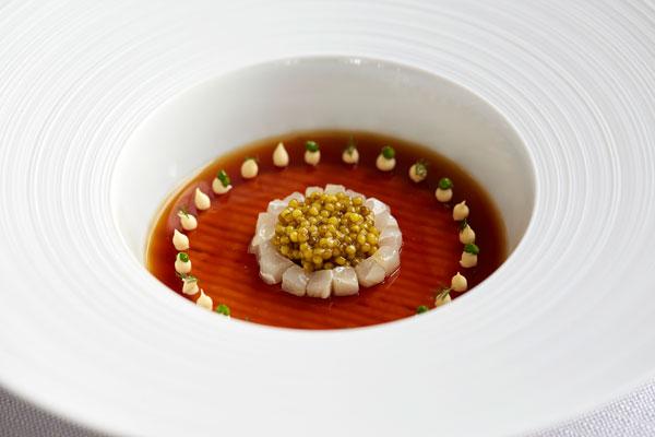 Duck jelly, Oscietra caviar spring onion, smoked sturgeon