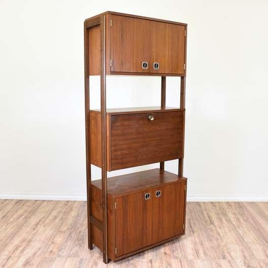 Mid Century Modern Shelf Unit Secretary Bar