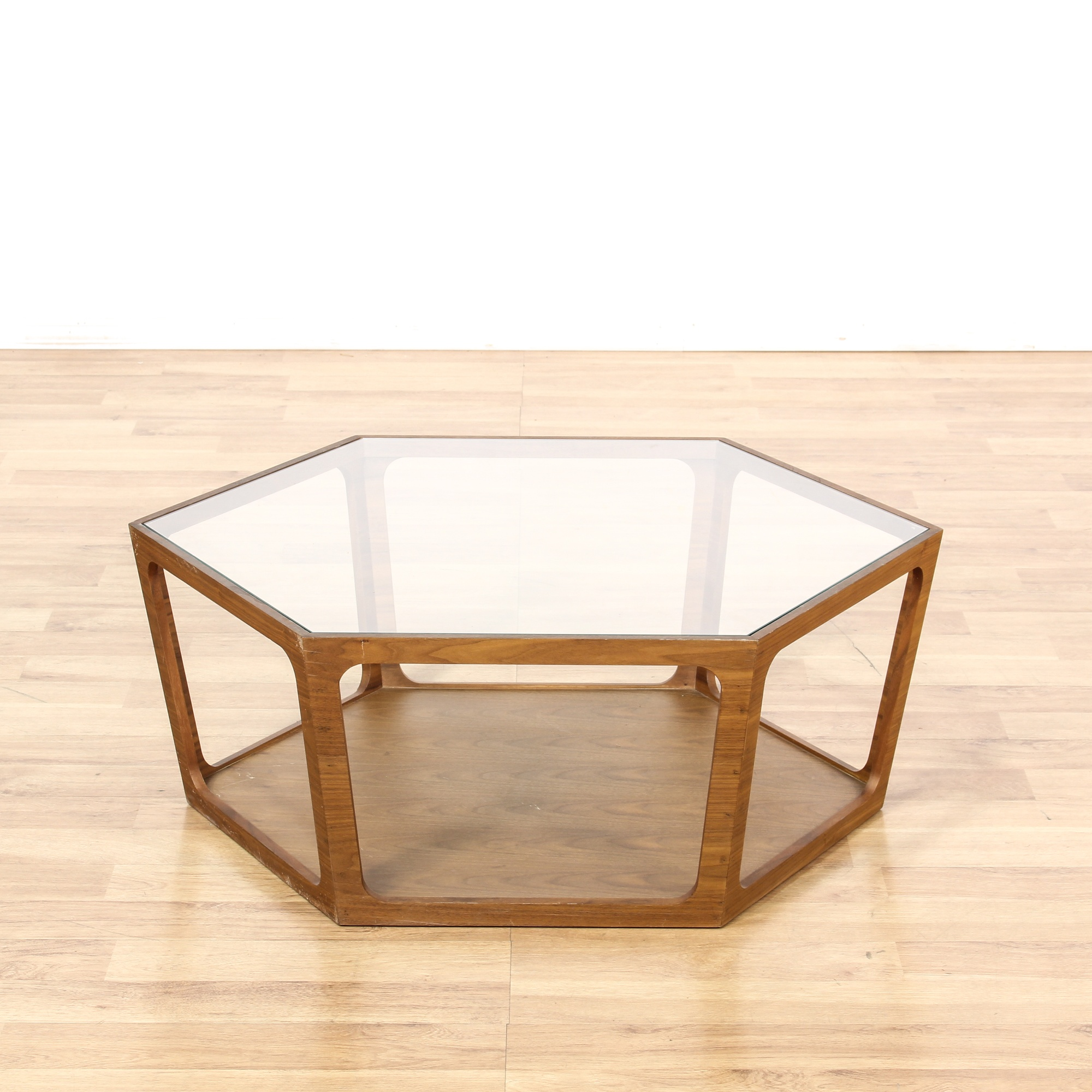 Mid Century Glass Top Octagon Coffee Table Loveseat Vintage Furniture San Diego Los Angeles