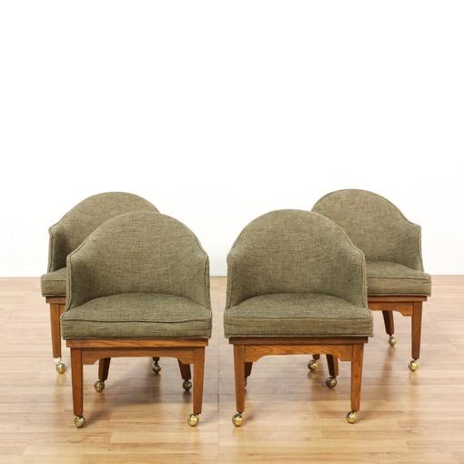 Set Of 4 Rolling Upholstered Barrel Chairs Loveseat Vintage Furniture San Diego Los Angeles