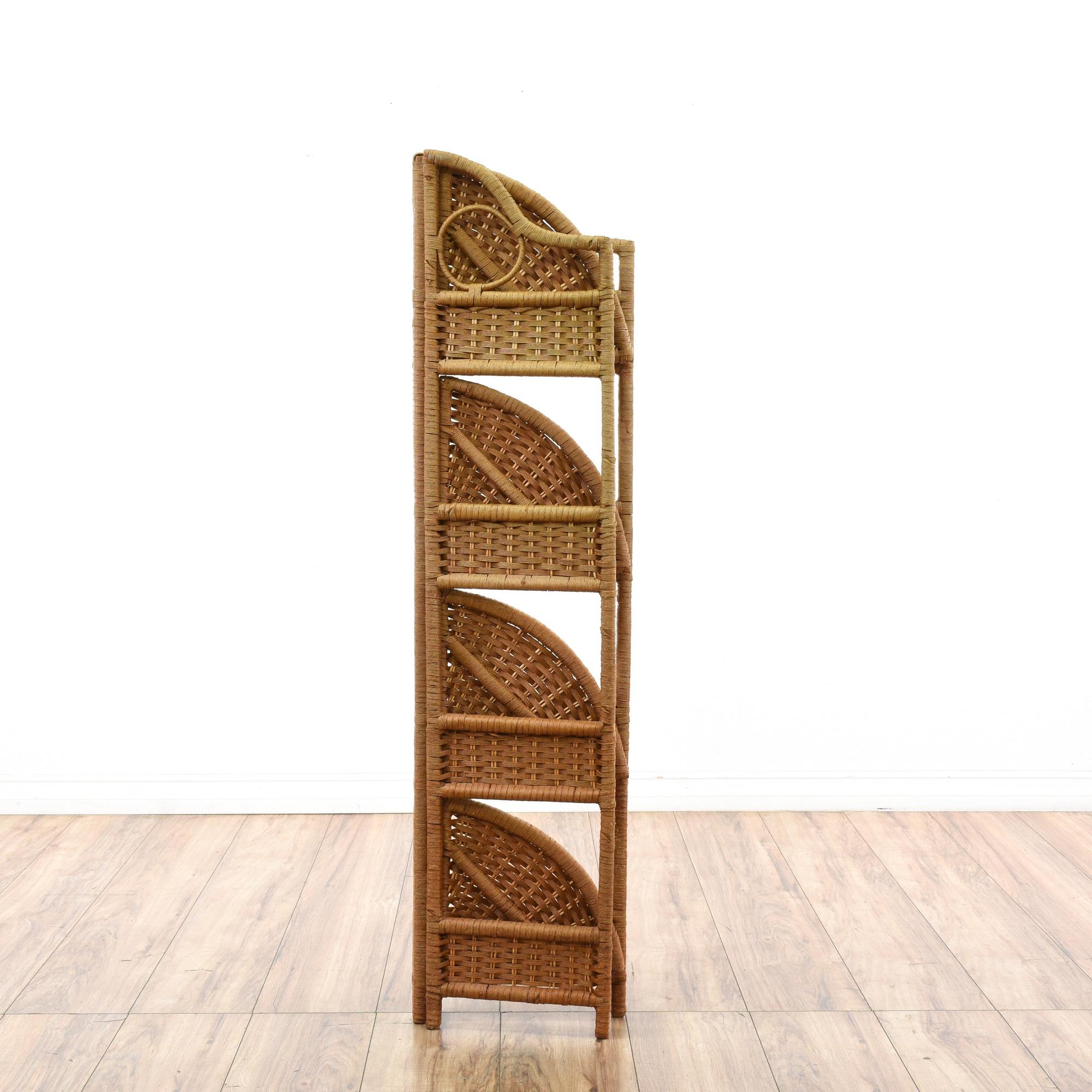 Bohemian Wicker Rattan Folding Corner Shelf Loveseat