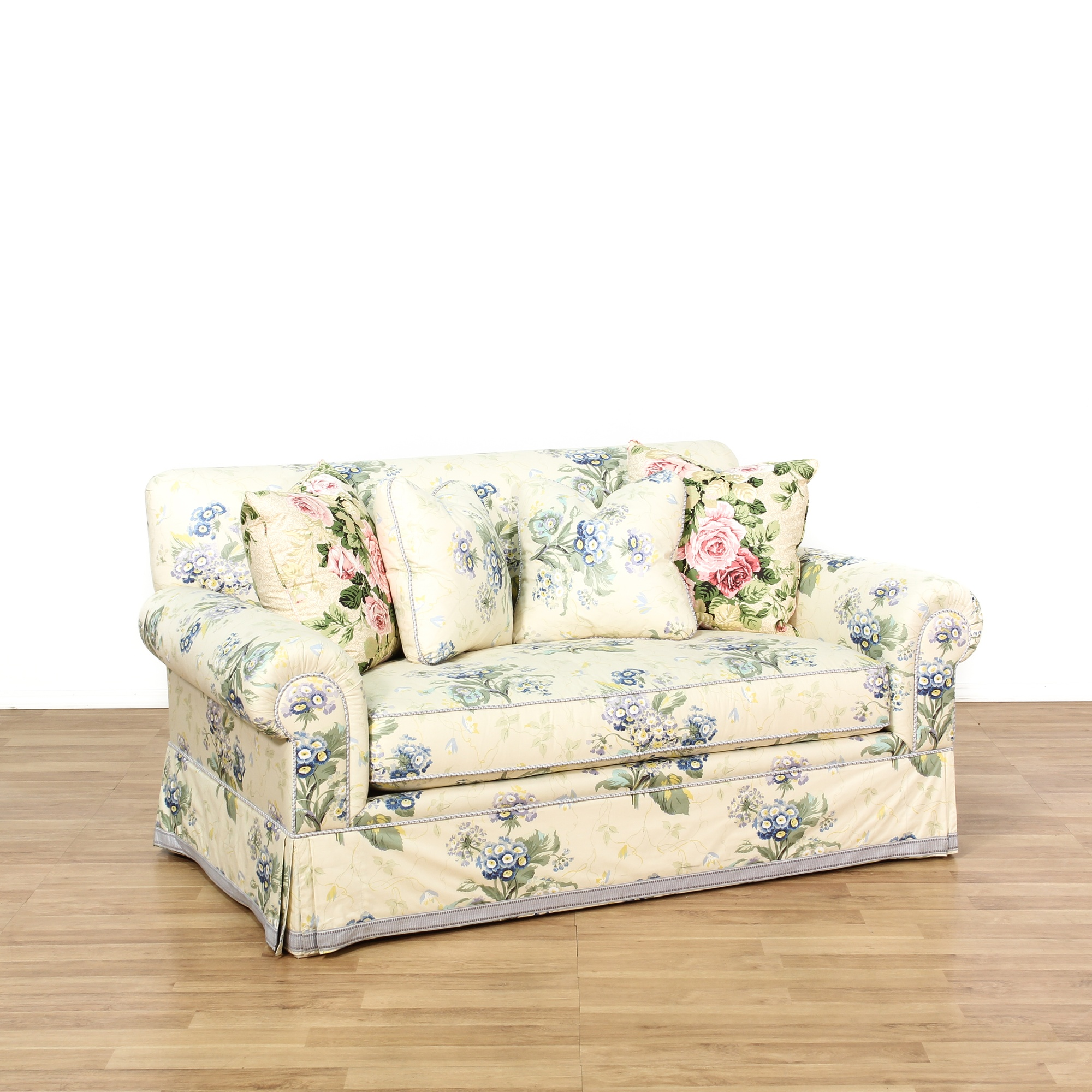 Cottage Chic Floral Upholstered Loveseat Loveseat Vintage Furniture San Diego Los Angeles