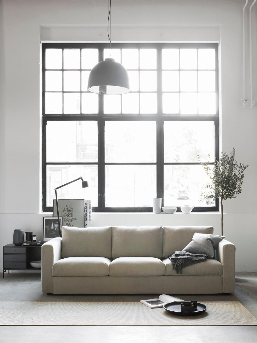 Bemz cover for Vimle 3 seater sofa, fabric: Malmen Velvet Sand Beige. Bemz cushion cover, fabric: Malmen Velvet Zinc Grey. Styled by Pella Hedeby. Photographer Sara Medina Lind.