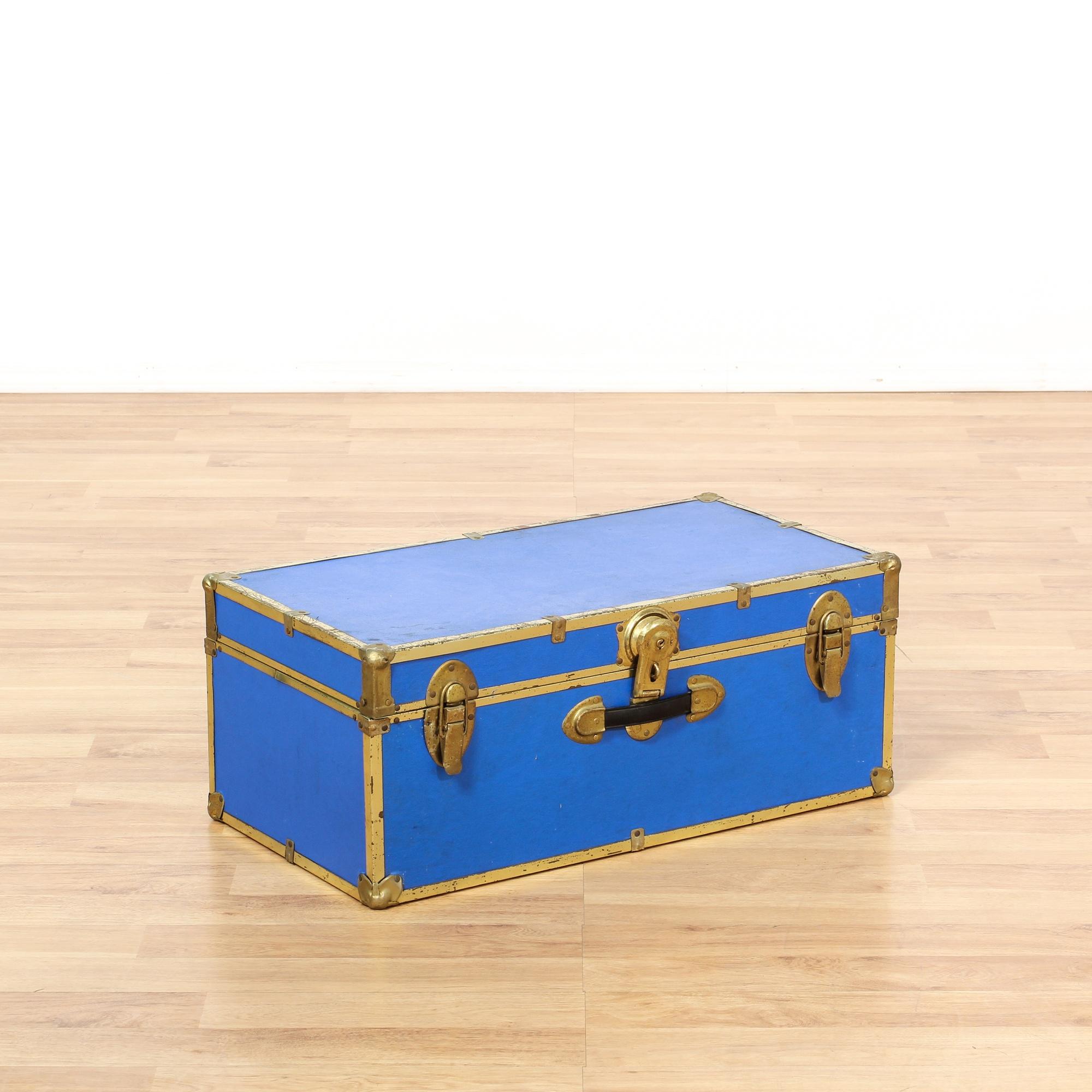 Kaplan Global Trunk Coffee Table Reclaimed Whitewash Large: Vibrant Blue & Brass Trunk