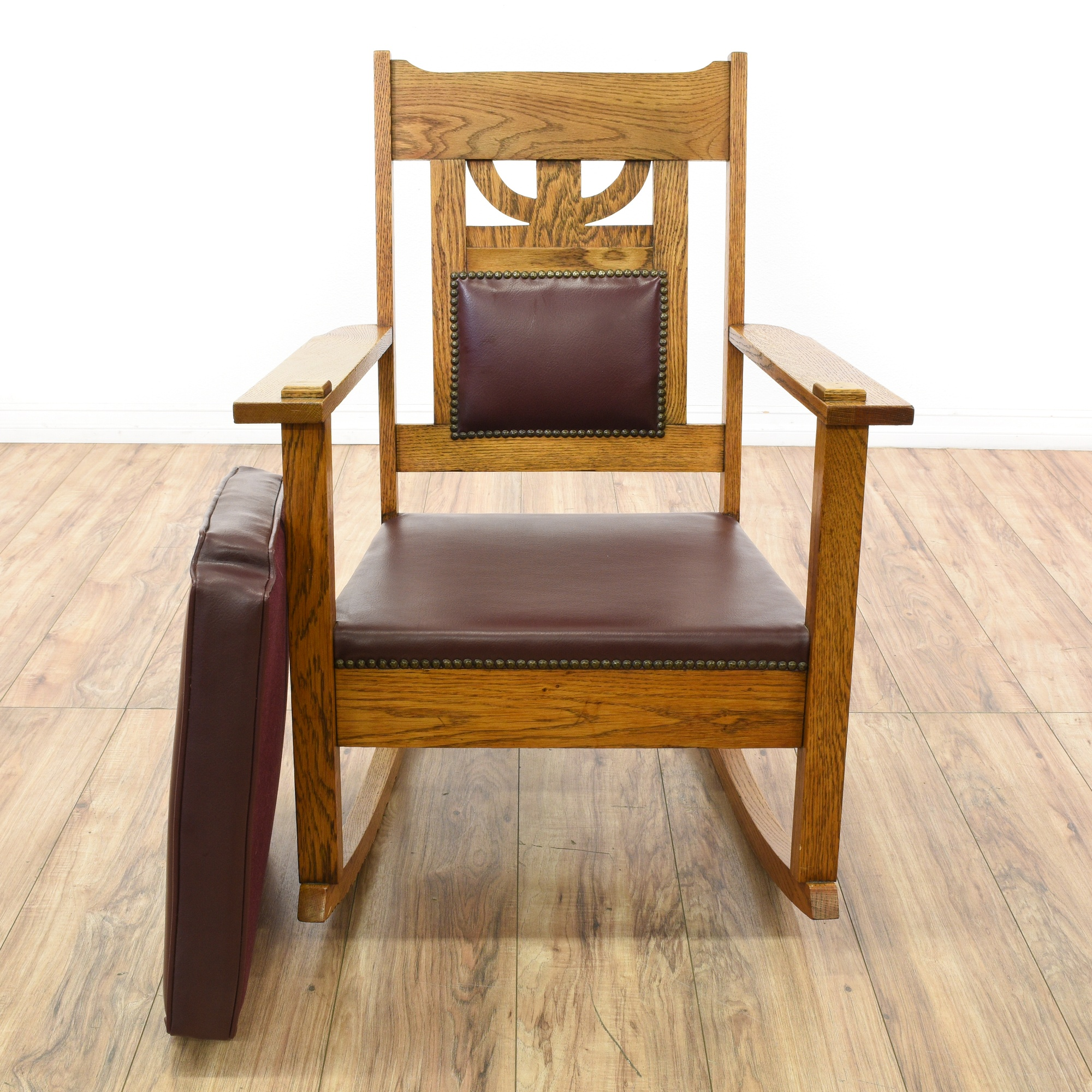 Mission Style Carved Oak Leather Rocking Chair Loveseat