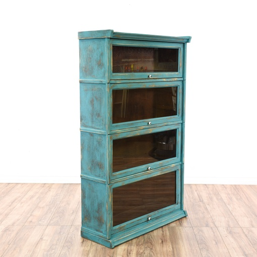 Teal Shabby Chic Glass Front Lawyer S Bookcase Loveseat