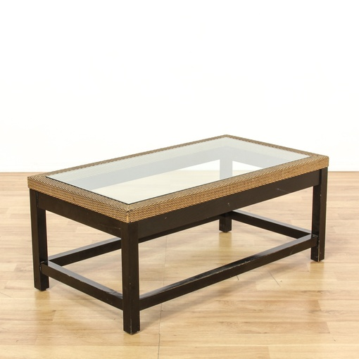 Coastal Woven Glass Top Coffee Table Loveseat Vintage Furniture San Diego Los Angeles