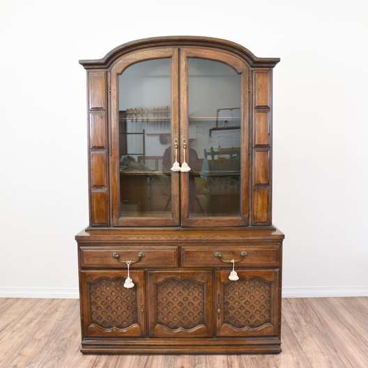 """""""Ayers"""" Carved China Cabinet Display Hutch"""