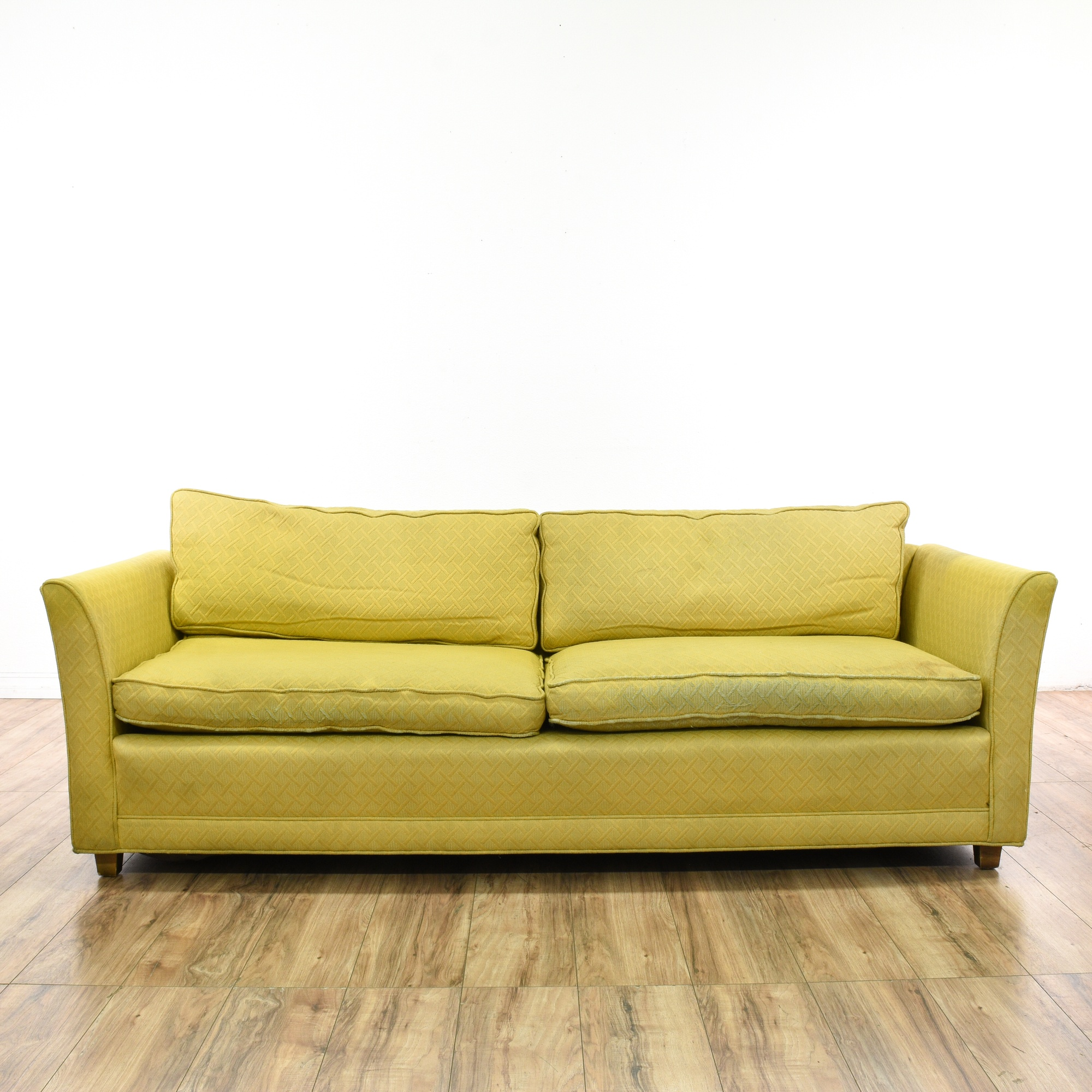 yellow upholstered mid century modern sofa 2 loveseat vintage furniture san diego los angeles. Black Bedroom Furniture Sets. Home Design Ideas