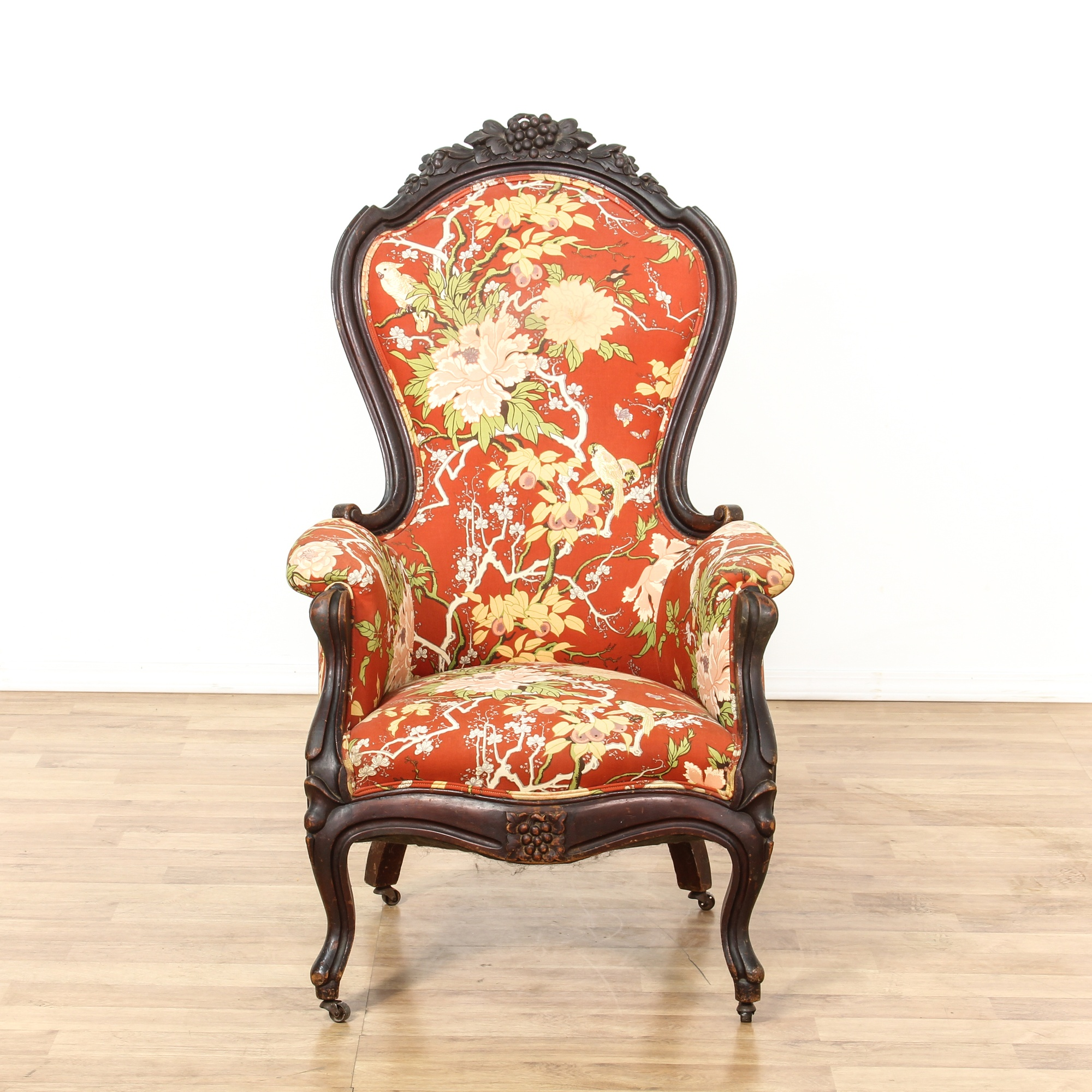 Red floral upholstered carved victorian side chair for Victorian furniture los angeles
