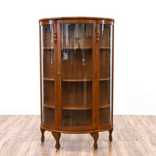 Victorian Curved Glass Cherry Curio Cabinet