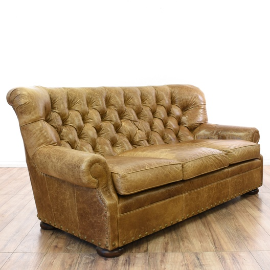 Distressed Brown Leather Tufted Club Sofa Loveseat