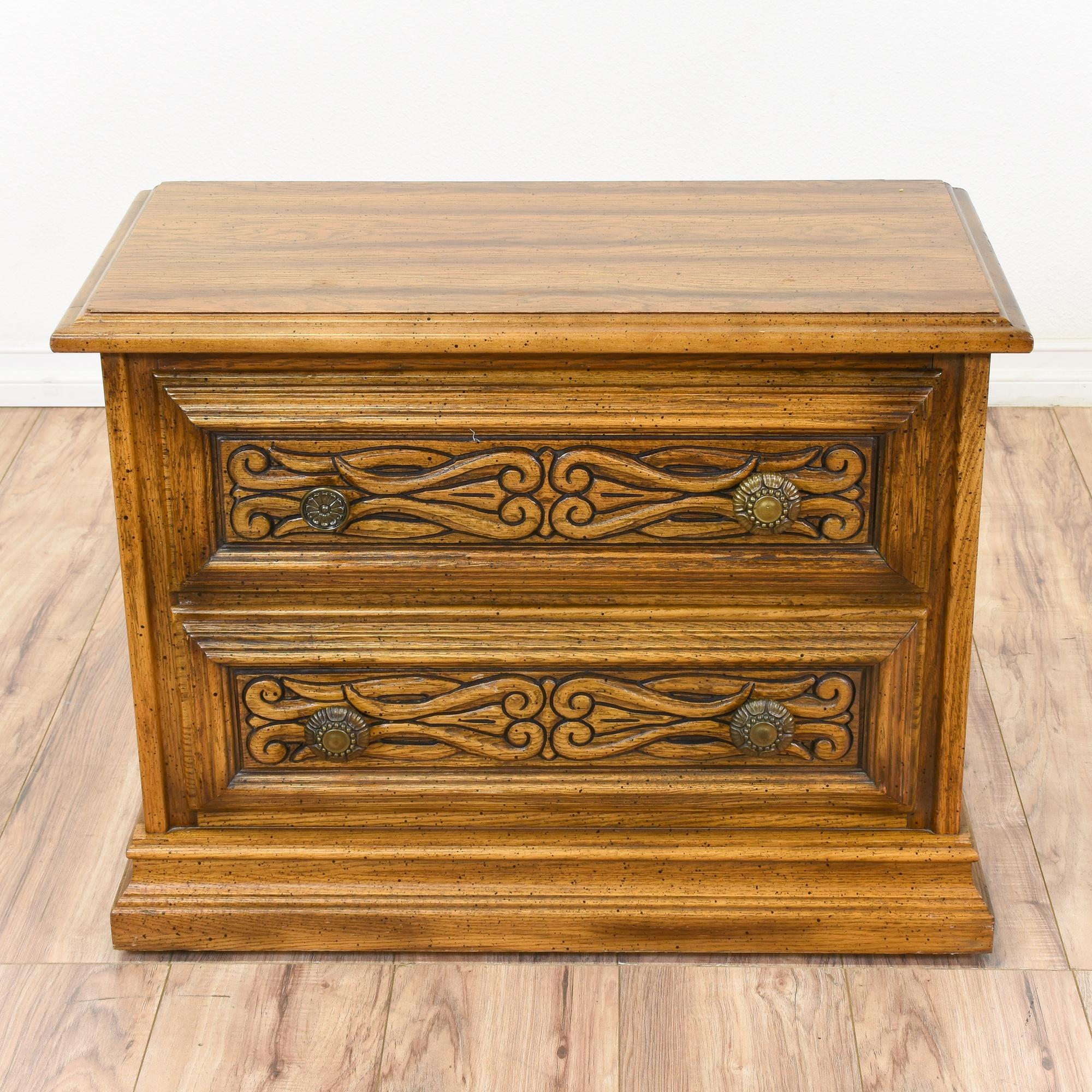 American Drew Carved Oak Nightstand Loveseat Vintage Furniture San Diego Los Angeles