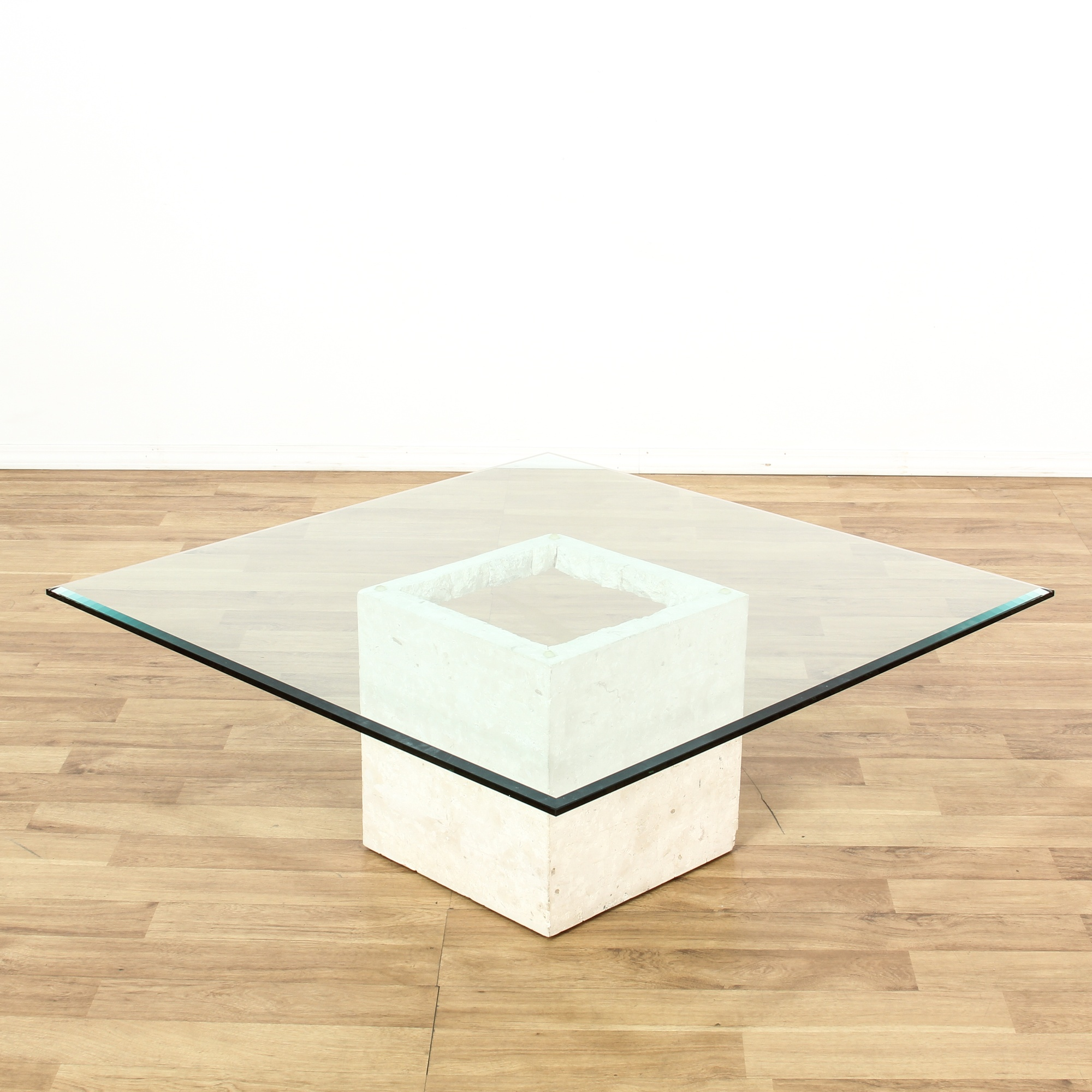 Modern White Cube Form Glass Top Coffee Table Loveseat Vintage Furniture San Diego Los Angeles