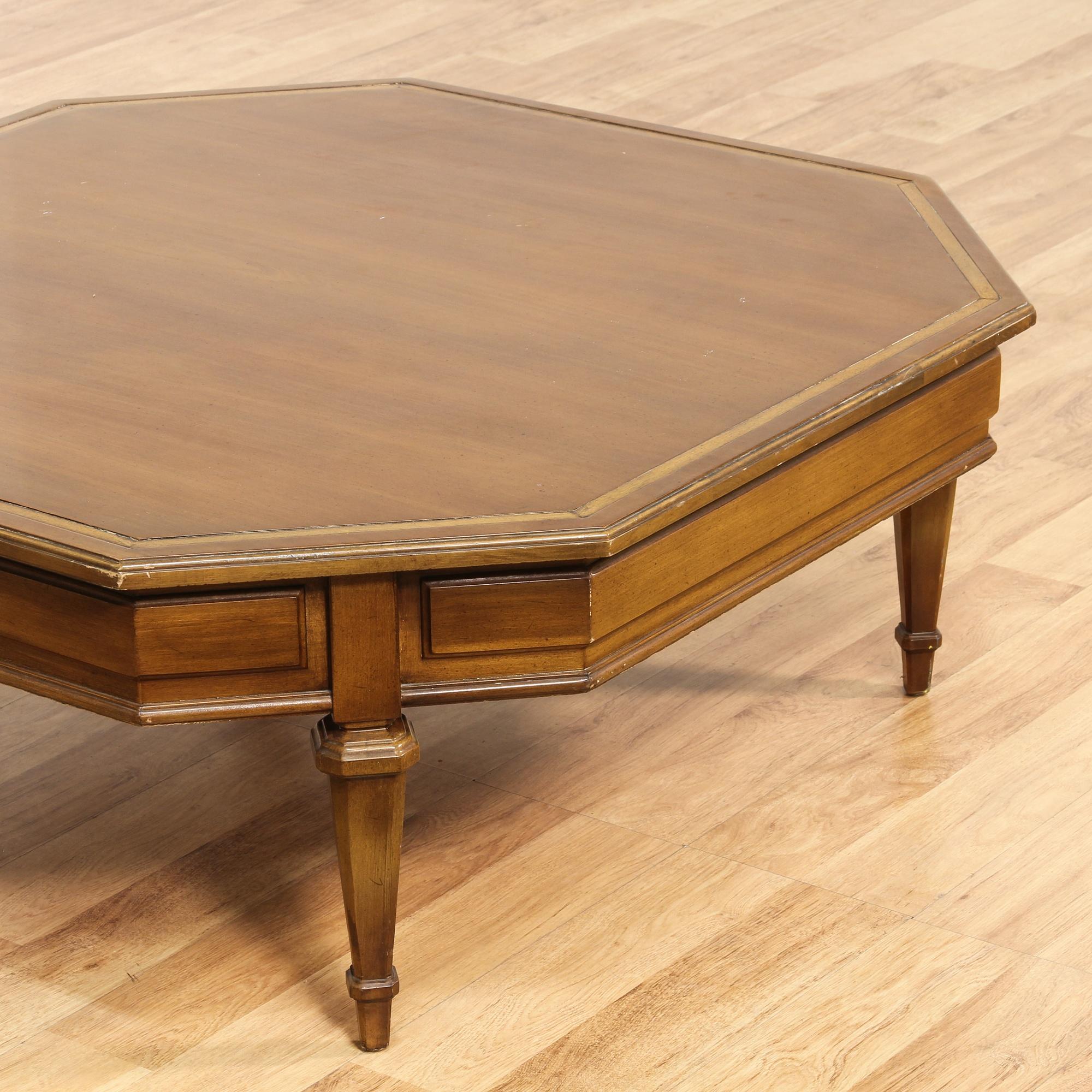 wood octagon carved coffee table loveseat vintage