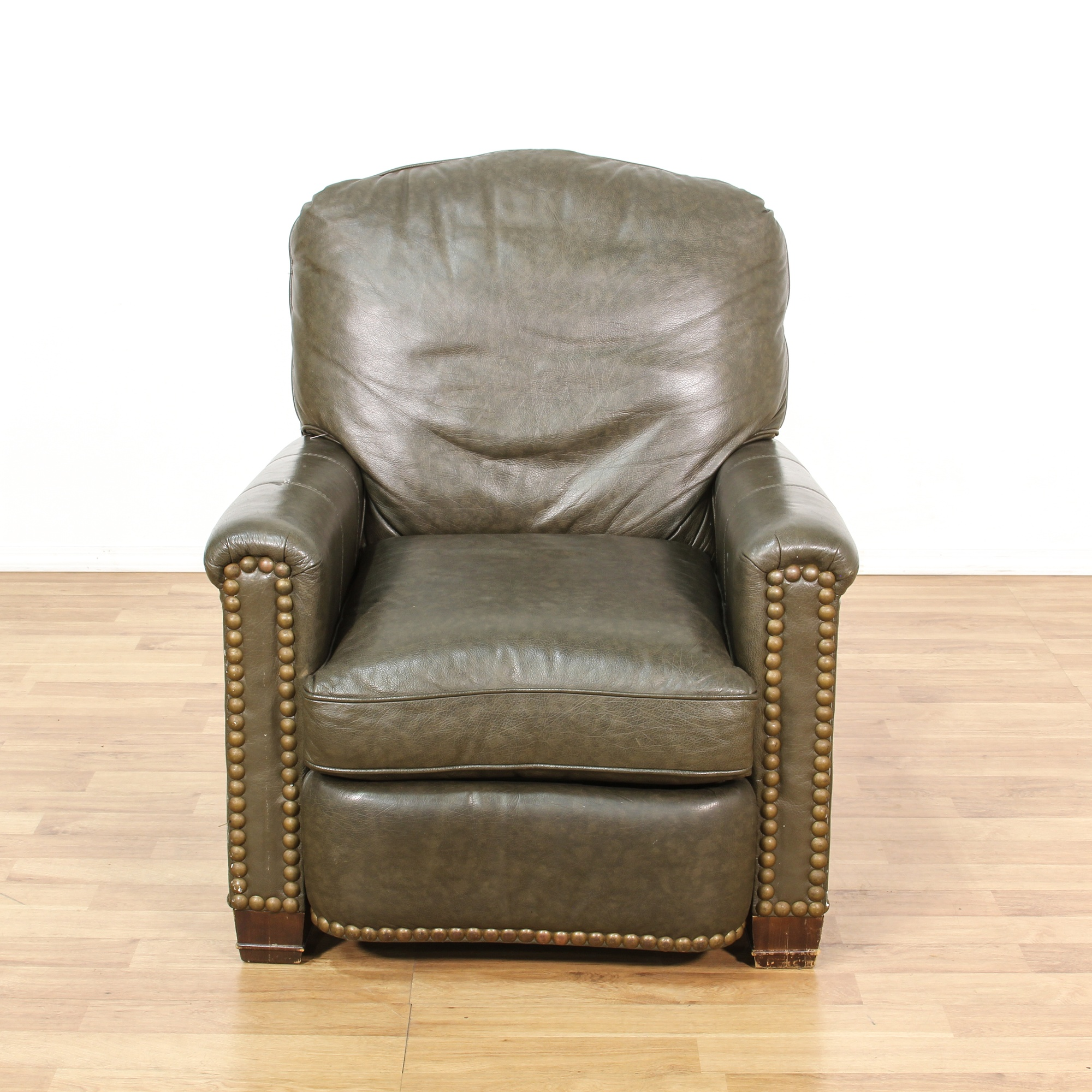 Brown Leather Vinyl Studded Recliner Chair Loveseat
