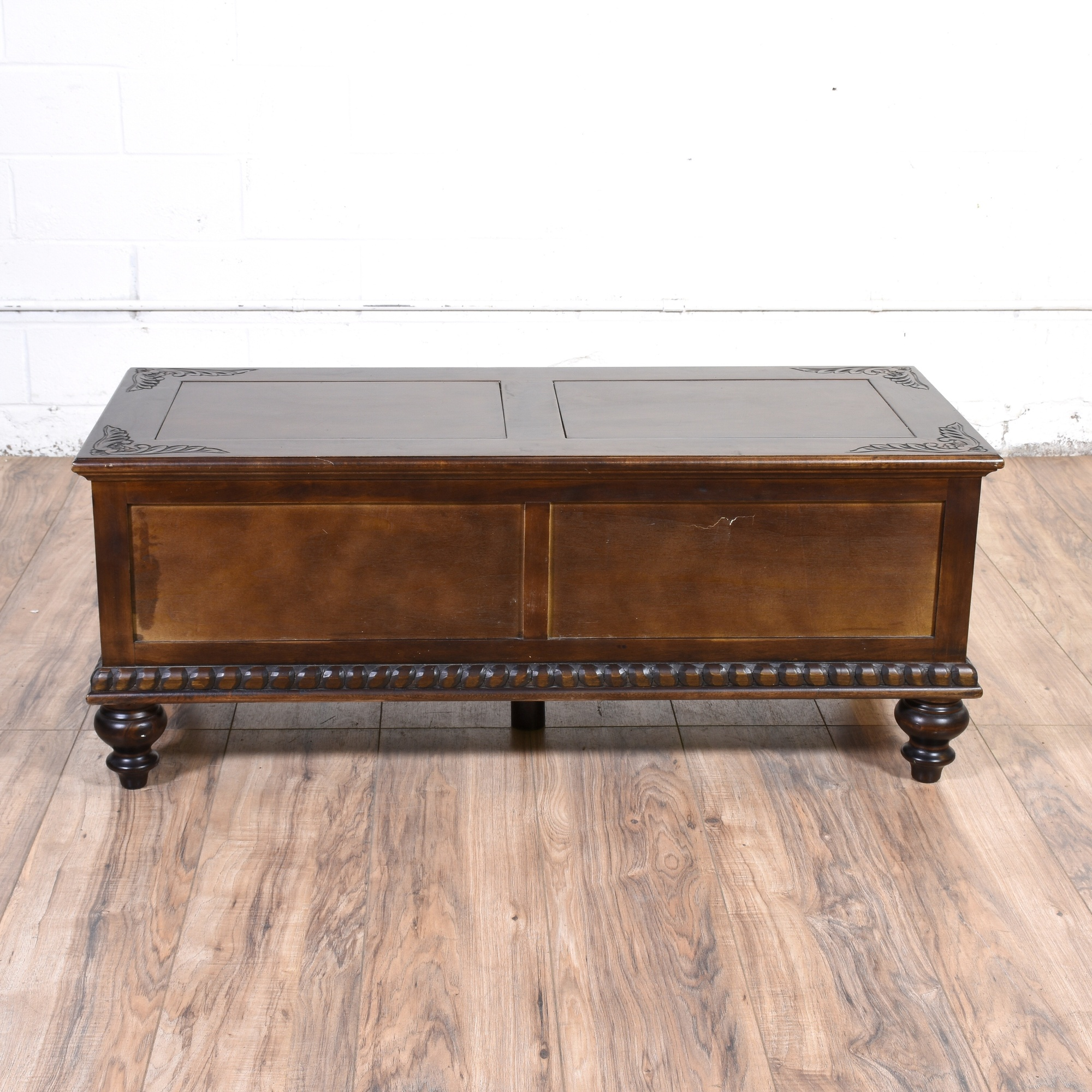 carved dark wood coffee table trunk loveseat vintage With dark wood trunk coffee table