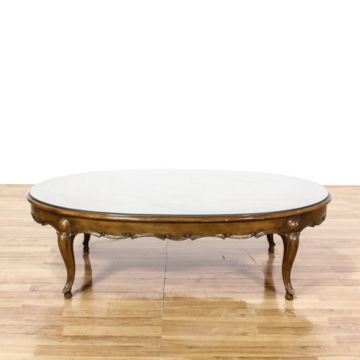 Oval Wood Coffee Table With Storage: Oval Glass Top Wood Coffee Table