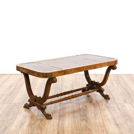 Carved Wood Leather Top Coffee Table Loveseat Vintage Furniture San Diego Los Angeles