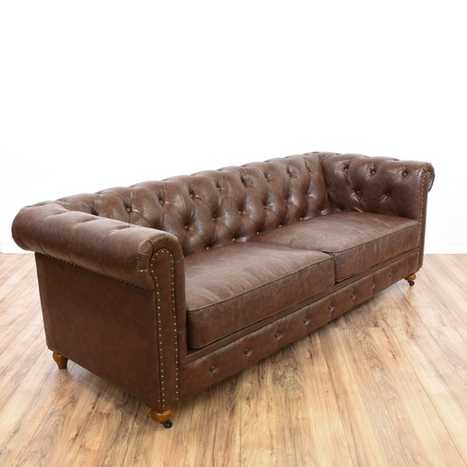 Chesterfield Brown Faux Leather Tufted Sofa   Loveseat ...
