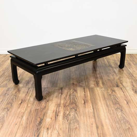 Black Asian Style Gold Dragon Coffee Table