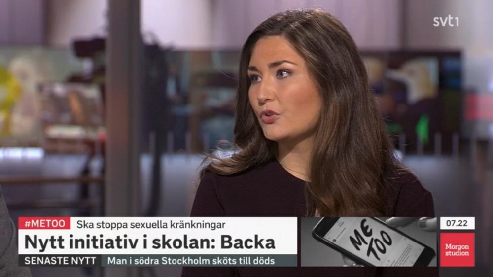 Ordförande Lina Hultqvist pratar om initiatvet Backa i SVT Morgonstudion.